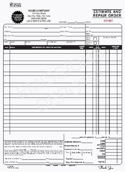 ERO-660-3 | Automotive Estimate & Repair Order - 3 Part Carbon Copy (8.5'' x 11'')