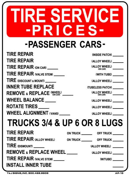 Tire Service Prices Plastic Sign 24 x 18