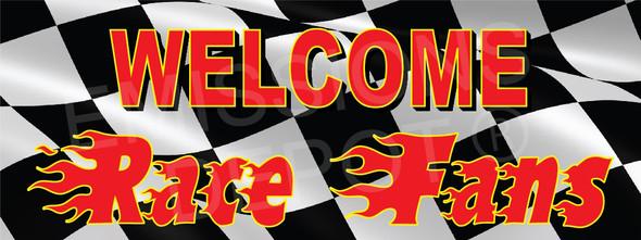 Welcome Race Fans (Flames) | 3 X 8 | Vinyl Banner
