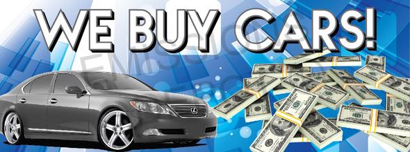 We Buy Cars | Blue | Vinyl Banner