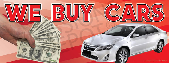 We Buy Cars | Red | Vinyl Banner
