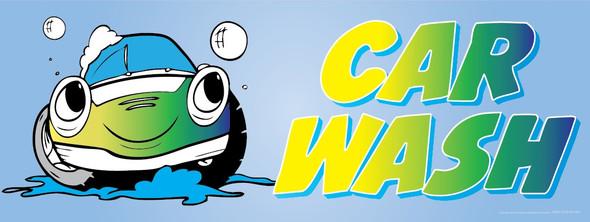 Car Wash | Light Blue Background | Red Letters | Vinyl Banner