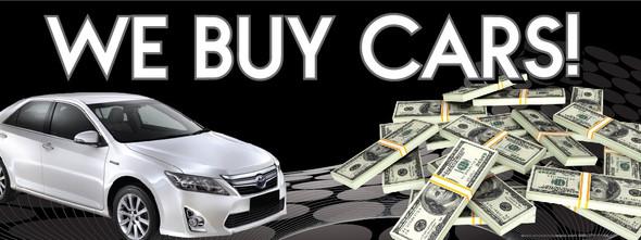 We Buy Cars | White Car | Black Background | Vinyl Banner