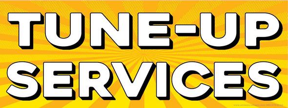 Tune-Up Services   Yellow Orange Sun Burst   Vinyl Banner