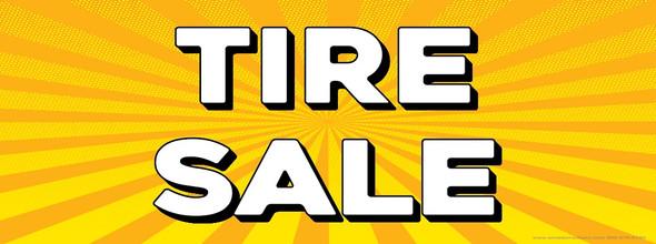 Tire Sale   Yellow Orange Sun Burst   Vinyl Banner