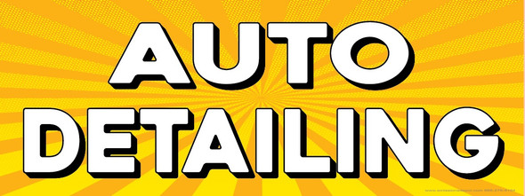 Auto Detailing   Yellow Orange Sunburst   Vinyl Banner