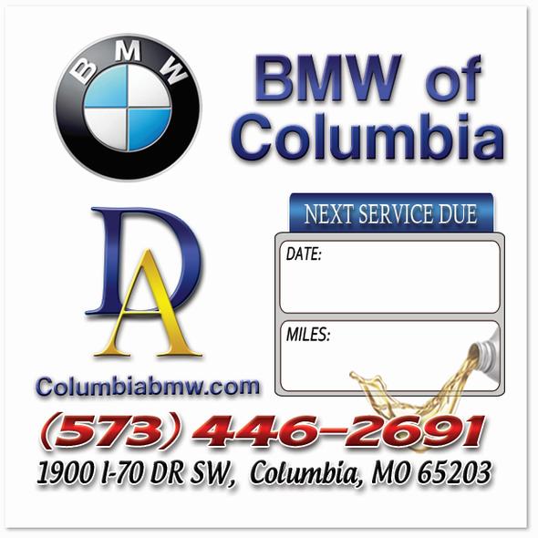 BMW Oil Change Stickers | Full Color | Custom Designed