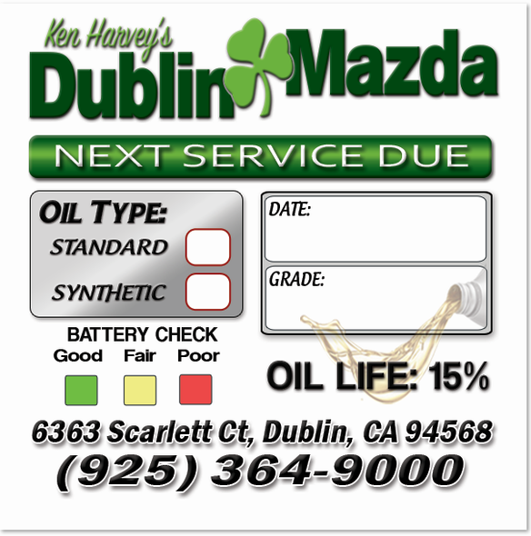 Mazda Oil Change Stickers | Full Color | Custom Designed