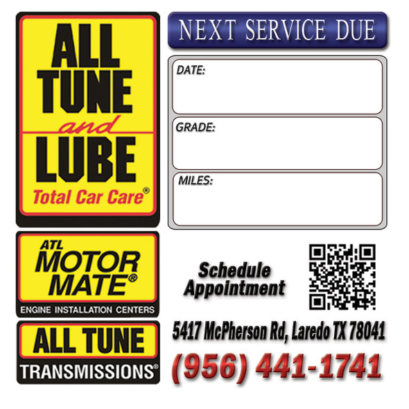 All Tune and Lube Oil Change Stickers.