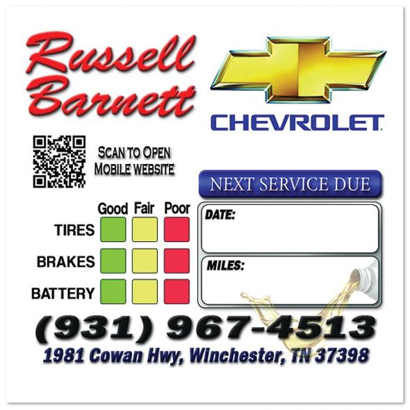 Chevrolet Dealership Oil Change Stickers   Full Color   Custom Designed