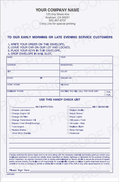 OARE-9920 |  Early Morning / Overnight Auto Repair Key Envelope | All Quantities Ship Free