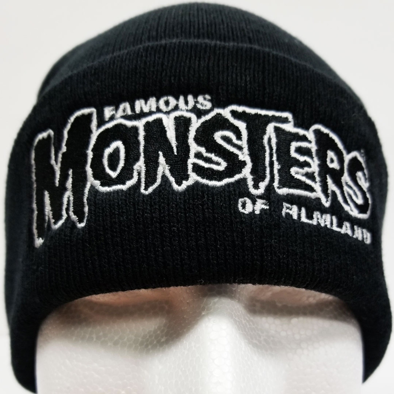 de2d5556cac Famous Monsters Logo Embroidered Cuffed Beanie - Black White Logo front view