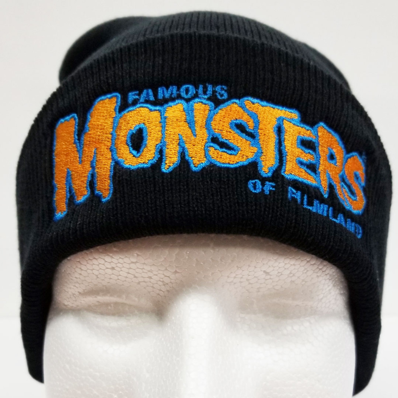 01d6931bf36 Famous Monsters Logo Embroidered Cuffed Beanie - Blue Orange Logo front view