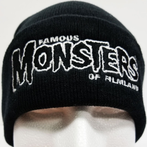 22eb78a38e9 Famous Monsters Logo Embroidered Cuffed Beanie - Black White Logo front view