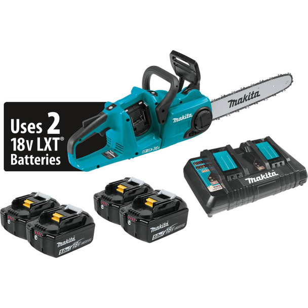 "18V X2 (36V) LXT Lithium-Ion Brushless Cordless 14"" Chain Saw Kit with 4 Batteries (5.0Ah)"