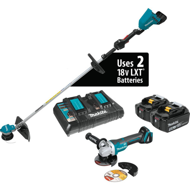 18V X2 (36V) LXT Lithium-Ion Brushless Cordless String Trimmer Kit (5.0Ah) and Brushless Angle Grinder
