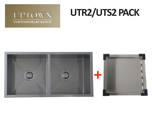 UPTOWN SQUARE DOUBLE BOWL SINK + DRAIN TRAY - UTR2 PACK