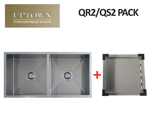 UPTOWN SQUARE DOUBLE BOWL SINK + DRAIN TRAY - QR2 PACK