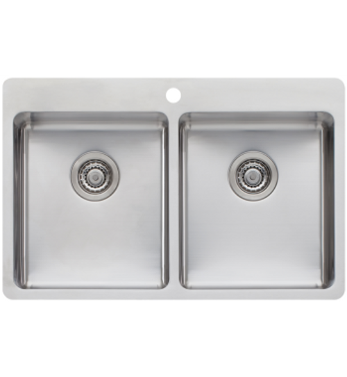 OLIVERI SONETTO DOUBLE BOWL TOPMOUNT SINK WITH DRAIN TRAY - SN1064