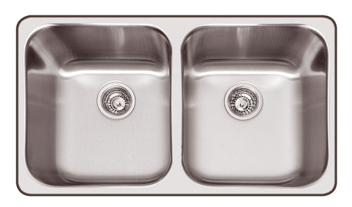 ABEY DAINTREE DOUBLE BOWL TOPMOUNT SINK WITH ACCESSORIES - Q200