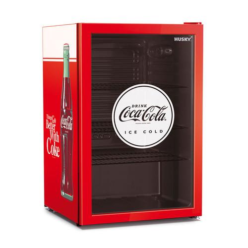 HUSKY 118L COCA COLA GLASS DOOR BAR FRIDGE - CKK110-168-AU-HU