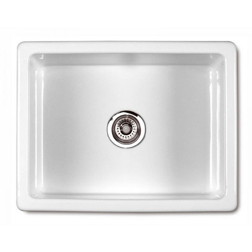 SHAWS CLASSIC INSET 595mm WHITE FIRECLAY SINGLE BOWL SINK - SCIN595WH