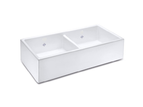 SHAWS CLASSIC SHAKER 795mmD WHITE FIRECLAY DOUBLE BOWL SINK - SCSH800WH