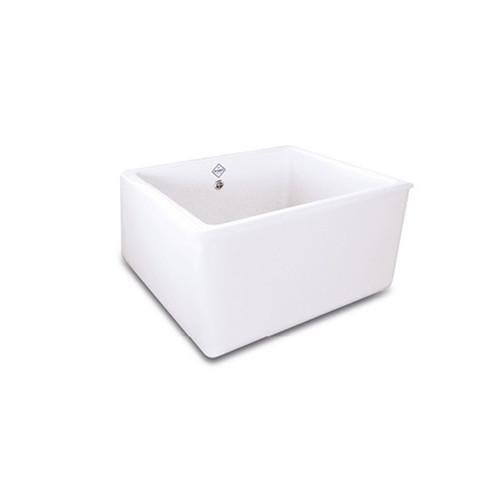 SHAWS WHITEHALL 595mmD WHITE FIRECLAY SINGLE DEEPBOWL SINK - SCWH600WH