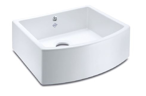 SHAWS CLASSIC WATERSIDE 597mmD WHITE FIRECLAY BOW FRONTED SINGLE BOWL SINK - SCWT595WH