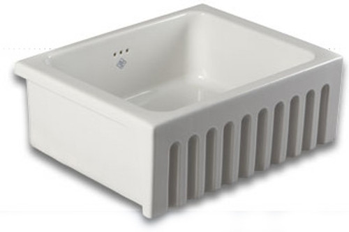 SHAWS BOWLAND 595mm WHITE FIRECLAY SINGLE BOWL SINK WITH FLUTED FASCIA -SO0600010WH