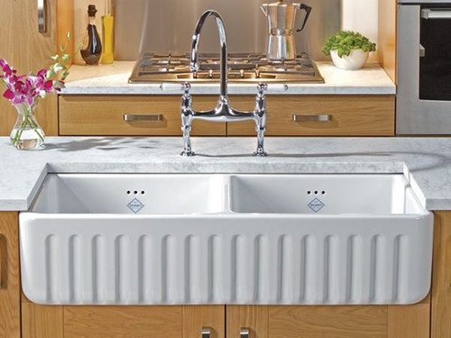 SHAWS RIBCHESTER 795mm WHITE FIRECLAY DOUBLE BOWL 50/50 RATIO SINK WITH FLUTED FASCIA - SO0800010WH