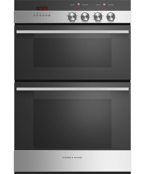 FISHER & PAYKEL 60CM STAINLESS STEEL DOUBLE BUILT-IN OVEN 45L + 71L 7 FUNCTION - OB60B77DEX3