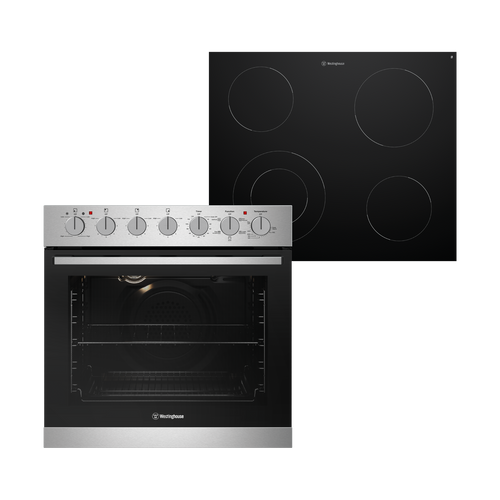 WESTINGHOUSE 60CM STAINLESS STEEL MULTI-FUNCTION OVEN WITH CERAMIC COOKTOP - WVE645SC