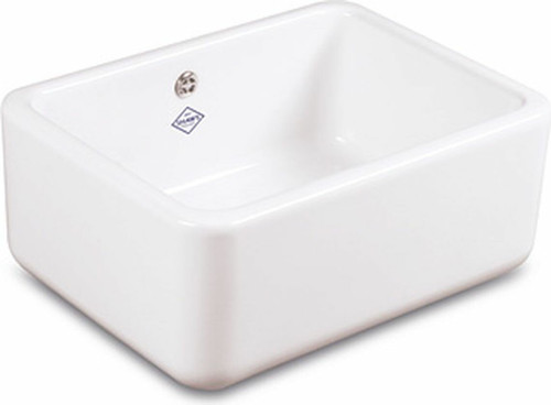 SHAWS CLASSIC BUTLER 595mm WHITE FIRECLAY SINGLE BOWL SINK - WITH OVERFLOW - SCBU600WH