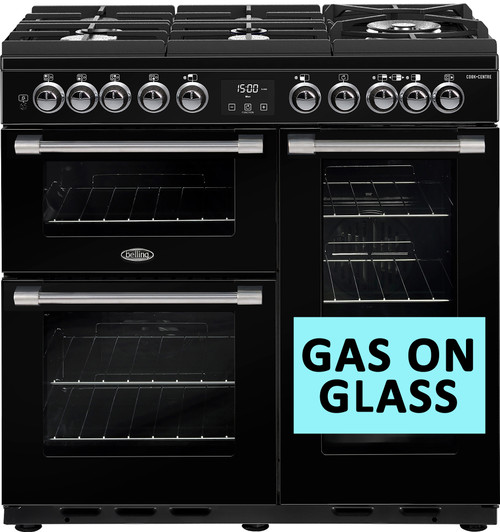 BELLING BLACK 90CM COOKCENTRE DELUXE DUAL FUEL GAS THROUGH GLASS COOKER - SPLIT OVENS - BCC900GTGB - EX-DISPLAY*