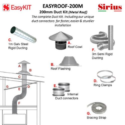 SIRIUS 200MM METAL ROOF DUCTING KIT - EASYROOF200M