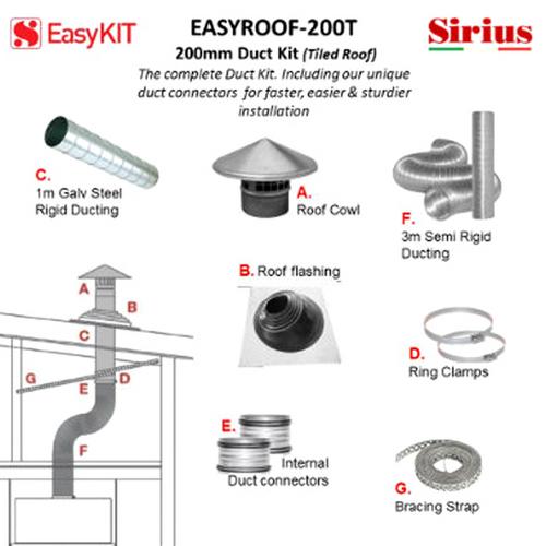 SIRIUS 200MM TILED ROOF DUCTING KIT - EASYROOF200T