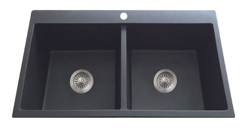 UPTOWN BLACK GRANITE DOUBLE BOWL SINK WITH TAPBANK - GS2-TL