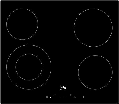 BEKO 60CM VITROCERAMIC 4 ZONE COOKTOP - SLIM TOUCH - HIC644021