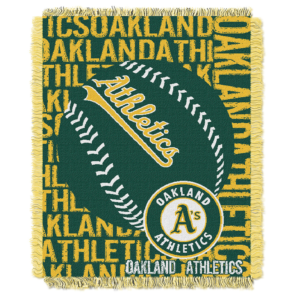low priced b4075 fac7a Oakland Athletics MLB Triple Woven Jacquard Throw (Double Play) (48