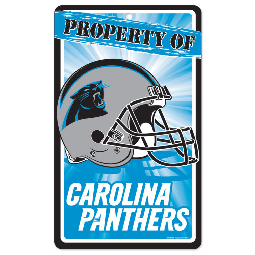 """Carolina Panthers NFL """"Property Of"""" Plastic Sign (7.25in x 12in)"""