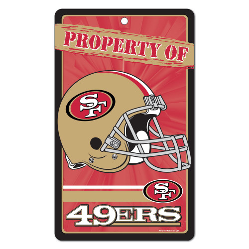 """San Francisco 49ers NFL """"Property Of"""" Plastic Sign (7.25in x 12in)"""