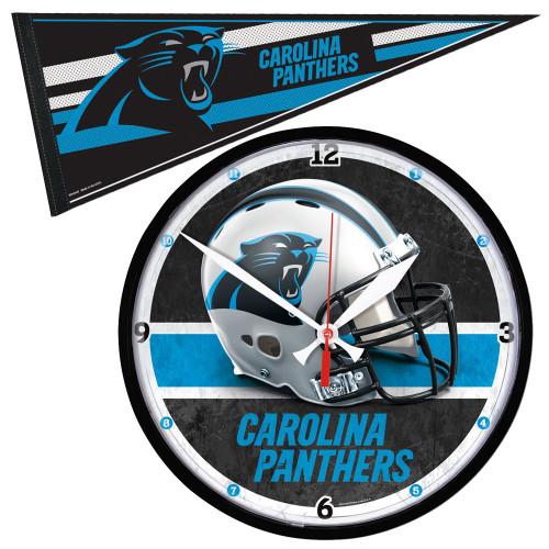 Carolina Panthers NFL Round Wall Clock and Pennant Gift Set