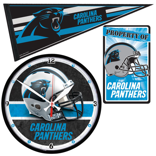 Carolina Panthers NFL Ultimate Clock, Pennant and Wall Sign Gift Set
