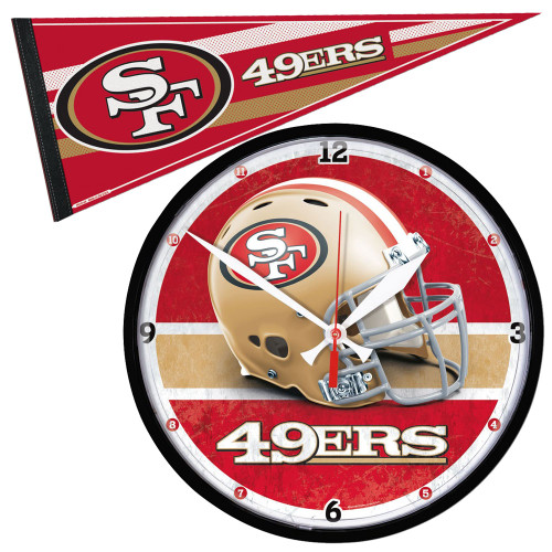 San Francisco 49ers NFL Round Wall Clock and Pennant Gift Set