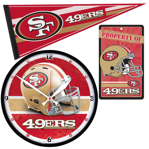 San Francisco 49ers NFL Ultimate Clock, Pennant and Wall Sign Gift Set