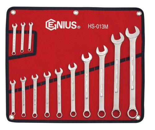 10-Piece Genius Tools GW-7610M Metric Stubby Combination Ratcheting Wrench Set
