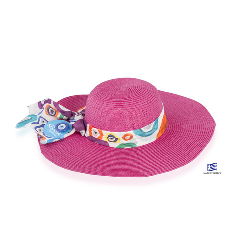 Floppy Hat Fuchsia with Colourful Eyes ribbon