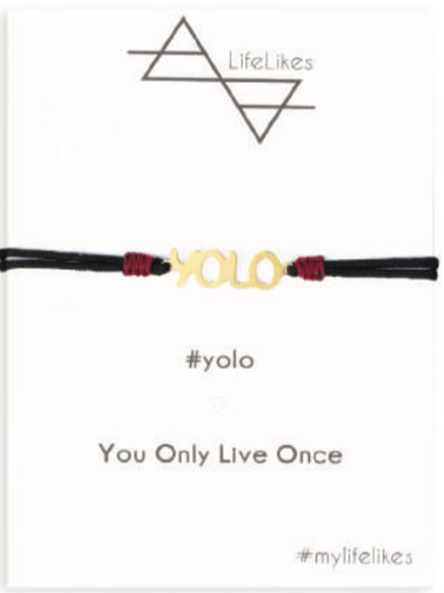 YOLO Charm Bracelet available in Brass Gold Plated with either a purple or black cord  Every LifeLike Charm is Designed and Hand Made in Greece.  Card is made of Recycled Paper.
