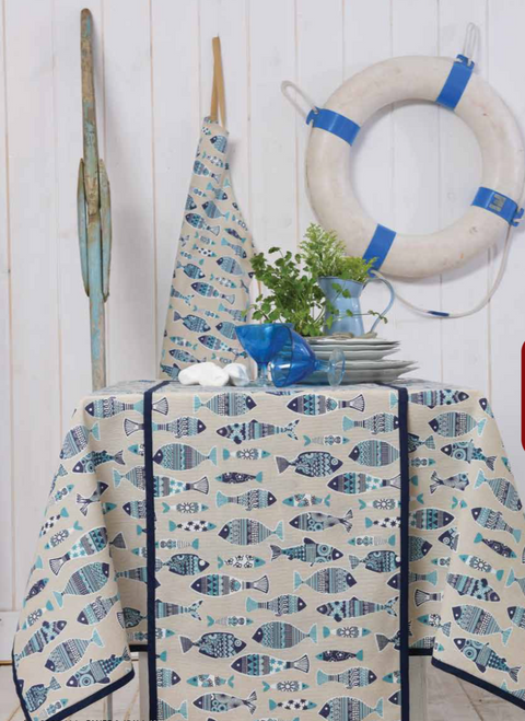 Tablecloth Round Blue Fish Pattern 170